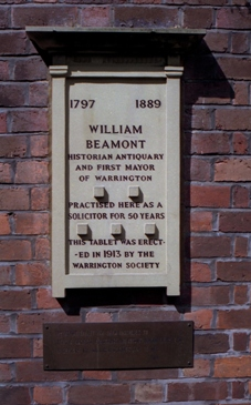 The Beamont plaque c H Wells SE96A30Su110896