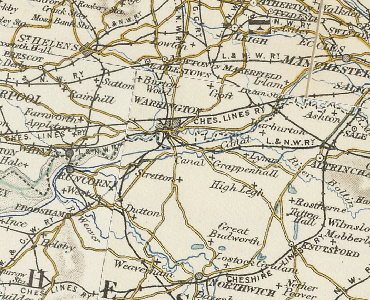 Map of early developed Warrington and district