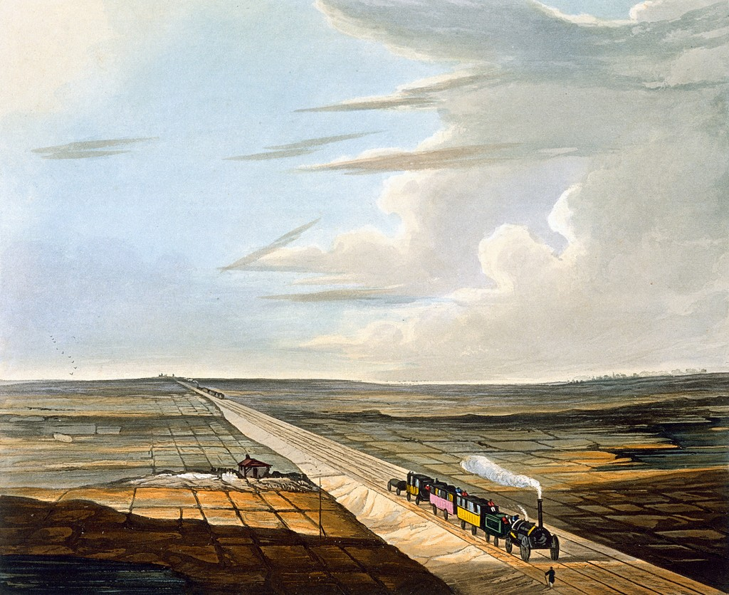 View of the Railway across Chat Moss from Burys Liverpool and Manchester Railway 1831 artfinder 267570 full 1024x836