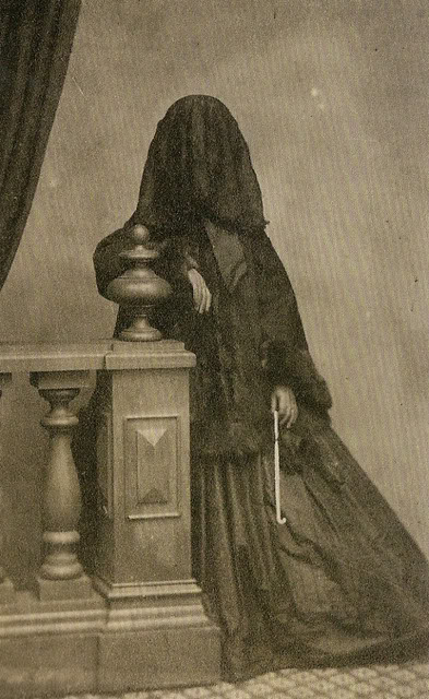 Early Victorian Lady in Mourning Dress