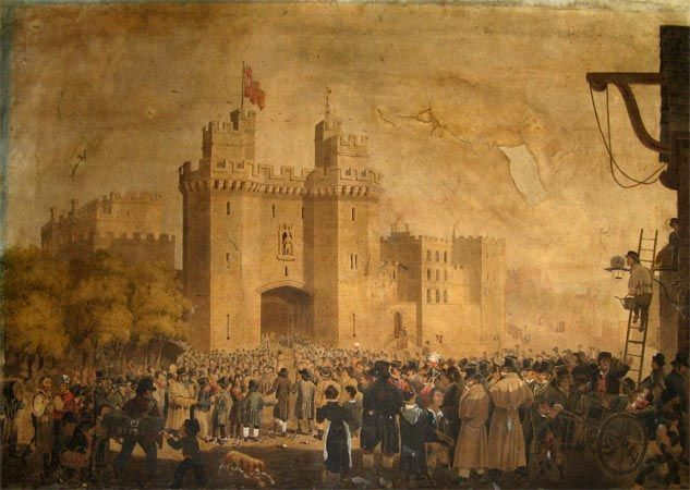 Prisoners arriving at lancaster castle in 1827 ex lancashire museum archives