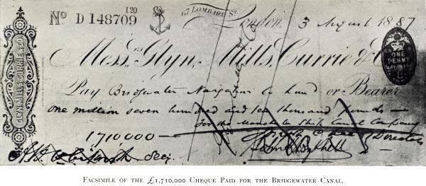 Facsimile of the 1710000 Cheque Paid for the Bridgewater Canal T2022