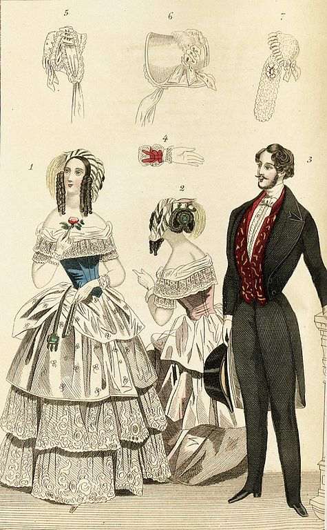 1844 fashion plate depicting fashionable clothing for men and women including illustrations of a glove and bonnets Magasin fr konst nyheter och moder 1844 illustration nr 8