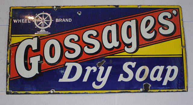 Gossages Dry Soap Wheel Brand enamel sign now in the cafe at Catalyst Science Discovery Centre Widnes England by Andy Mabbett640px Catalyst 2015 08 08 Andy Mabbett 06